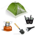Camping objects set on white Stock Photo