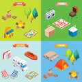 Camping objects in vector isometric style. Flat 3d isometric design. Family vacation, hiking, picnic, car travel. Camp Royalty Free Stock Photo