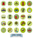Camping and Outdoor Pursuits Round Filled Line Icon Set Royalty Free Stock Photo
