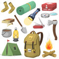 Camping outdoor travel equipment cartoon style vector icons on white