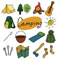Camping and outdoor vector illustration, Isolated objects