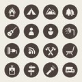 Camping and outdoors icons set Royalty Free Stock Image