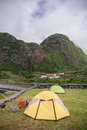 Camping place in azores on flores island faja grande Stock Image