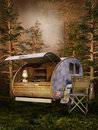 Camping place in a dark forest Royalty Free Stock Photo