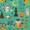 Camping seamless pattern with animals in the forest