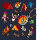 Camping set flat hand drawn vector illustration Stock Images