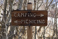 Camping sign wooden and picnicing Royalty Free Stock Photography