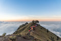 Camping site on crater rim of Mount Rinjani at sunset. Lombok Island, Indonesia Royalty Free Stock Photo