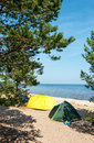 Camping site at ladog lake in sunny summer day Stock Photography