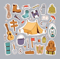 Camping stickers in hand drawn style vector.
