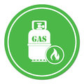 Camping stove with gas bottle icon