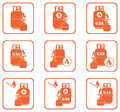 Camping stove with gas bottle icons set