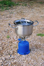 Camping stoves small outdoor equipment cooking Stock Photos