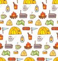 Camping stuff kawaii doodle seamless background