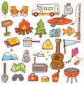 Camping stuff kawaii doodle set