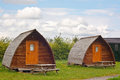 Camping teepees modern tee pees at a european camp site in the yorkshire dales national park a contemporary trend called glamping Stock Photography