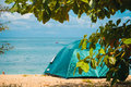 Camping Tent on Beach. Concept tourism, active rest Royalty Free Stock Photo