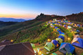 Camping tent at dawn on the mountain in chiangmai thailand Stock Photo