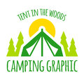 Camping tent graphic with trees and sunset Stock Photography