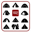 Camping tent icons set Royalty Free Stock Photo