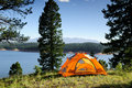 Camping Tent by the Lake in Colorado Royalty Free Stock Photo