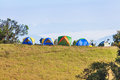 Camping tent on the mountain Royalty Free Stock Photo