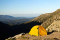 Camping and tent in mountains Royalty Free Stock Photo
