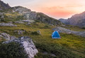 Camping tent in the mountains. Royalty Free Stock Photo