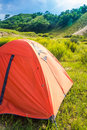 Camping tents on the meadow in summer Stock Images