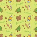 Camping themed seamless background with squirrel