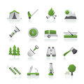 Camping, travel and Tourism icons Stock Photo
