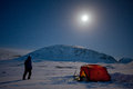 Camping under the moon on the Kungsleden Royalty Free Stock Image