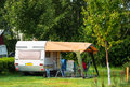 Camping vampir near to bran castle Stock Photo