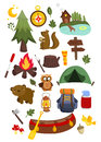 Camping vector set many of equipment in Stock Image