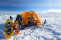 Camping during winter hiking in carpathian mountains Stock Photography