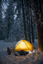 Camping during winter hiking in carpathian mountains snow Royalty Free Stock Image