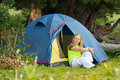 Camping woman Royalty Free Stock Images