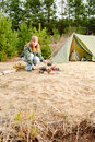 Camping Woman Tent Cook Food F...