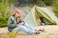 Camping woman tent nature cut sausage Stock Photos