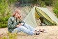 Camping Woman Tent Nature Cut ...