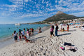 Camps Bay beach and Lions Head Mountain Stock Photos