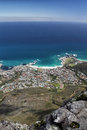 Camps bay cape town view of a suburb of south africa shot taken from the top of table mountain Stock Photos