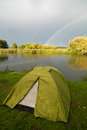 Campsite Alongside lake Stock Photography
