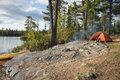 Campsite on Boundary Waters lake in northern Minnesota Royalty Free Stock Photo