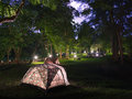 Campsite in erawan national park kanchanaburi thailand Royalty Free Stock Photos