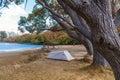 Campsite at Lake Pearson / Moana Rua Wildlife Refuge located in Craigieburn Forest Park in Canterbury, New Zealand Royalty Free Stock Photo