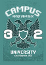 Campus eagle t-shirt design Stock Photos