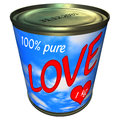 Can of 100 percent pure love 1 kg Royalty Free Stock Photography
