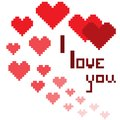 An illustration in the form of a pixelated hearts with the inscription I love you and smiley Royalty Free Stock Photo