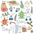 Set of Cute hand drawn Christmas winter illustrations. Hand sketched winter doodles.